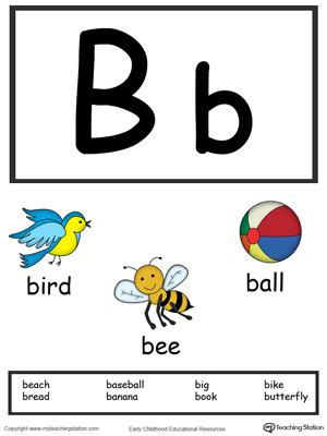 Letter B Alphabet Flash Cards for Preschoolers