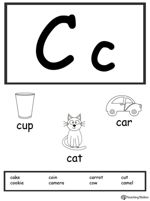 image regarding Alphabet Flash Cards Printable Black and White named Letter C Printable Alphabet Flash Playing cards for Preschoolers