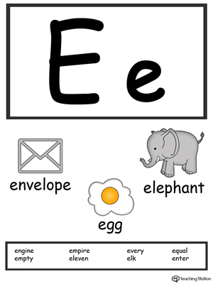 letter e alphabet flash cards for preschoolers myteachingstation com