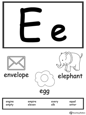 picture relating to Alphabet Flash Cards Printable Black and White named Letter E Printable Alphabet Flash Playing cards for Preschoolers