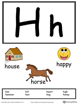 Letter H Alphabet Flash Cards for Preschoolers