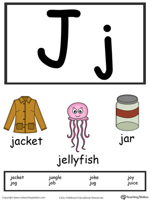 Recognize the letters and sounds at the beginning of words with Letter J Printable Alphabet Flash Cards.