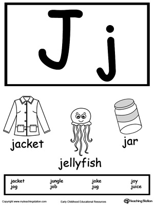 Recognize the sounds and letters at the beginning of words with this Letter J Printable Alphabet Flash Cards.
