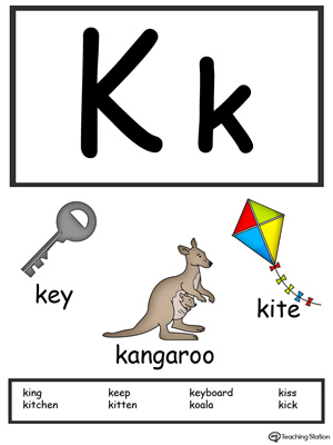 Letter K Alphabet Flash Cards for Preschoolers