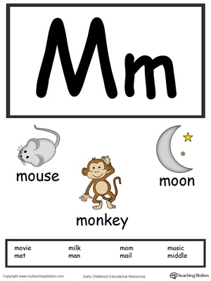 Letter M Alphabet Flash Cards for Preschoolers