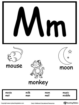 Letter M Printable Alphabet Flash Cards for Preschoolers
