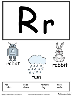 Letter R Alphabet Flash Cards for Preschoolers