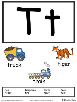 Letter T Alphabet Flash Cards for Preschoolers