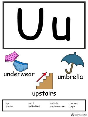 Letter U Alphabet Flash Cards for Preschoolers
