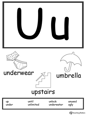 Recognize the sounds and letters at the beginning of words with this Letter U Printable Alphabet Flash Cards.