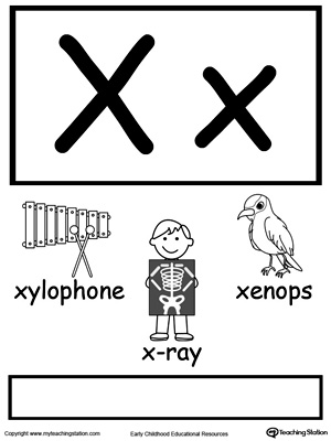 Letter X Printable Alphabet Flash Cards for Preschoolers