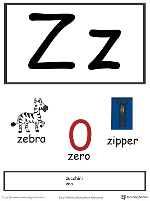 Recognize the letters and sounds at the beginning of words with Letter Z Printable Alphabet Flash Cards.