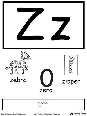 photo about Printable Letter Cards identify Letter Z Printable Alphabet Flash Playing cards for Preschoolers