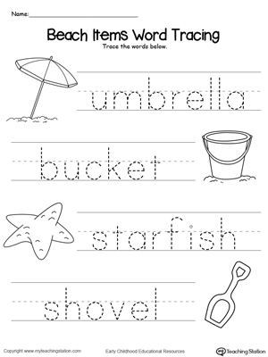 math worksheet : beach items word tracing  myteachingstation  : Tracing Worksheets Kindergarten