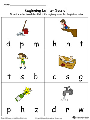 Beginning Letter Sound: OP Words in Color