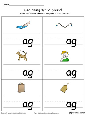 Beginning Word Sound: AG Words in Color