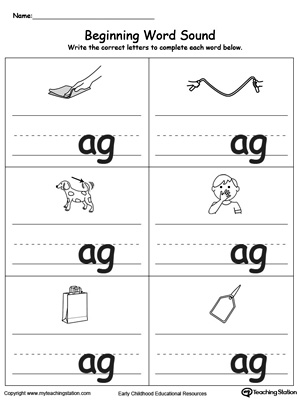 Beginning Word Sound: AG Words