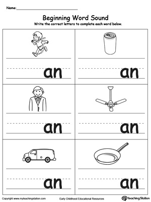 Learn sounds and letters at the beginning of words with this AN Word Family printable worksheet.