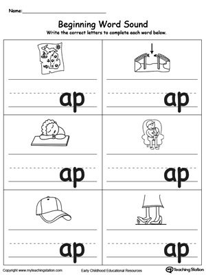 beginning word sound ap words beginning word sound at words beginning ...