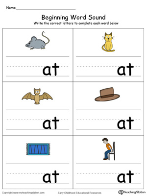 Learn sounds and letters at the beginning of words with this AT Word Family printable worksheet in color.