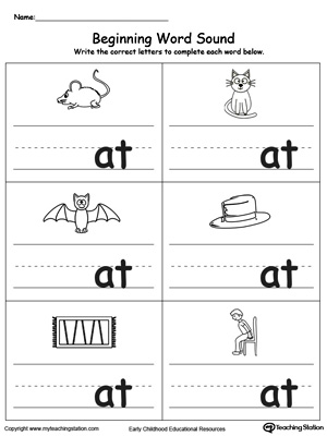 Beginning Word Sound: AT Words | MyTeachingStation.com