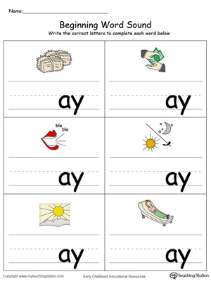 Learn sounds and letters at the beginning of words with this AY Word Family printable worksheet in color.