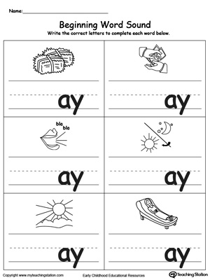 Beginning Word Sound: AY Words