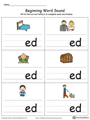 Learn sounds and letters at the beginning of words with this ED Word Family printable worksheet in color.