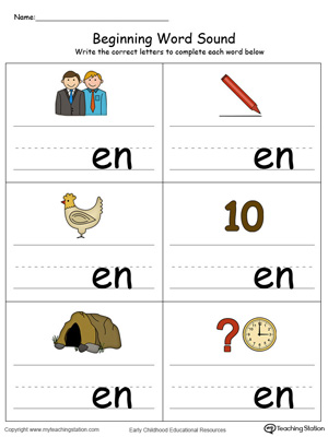 Learn sounds and letters at the beginning of words with this EN Word Family printable worksheet in color.