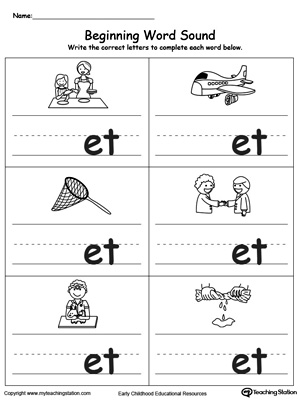 Beginning Word Sound: ET Words