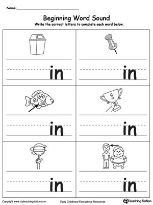 Beginning Word Sound: IN Words