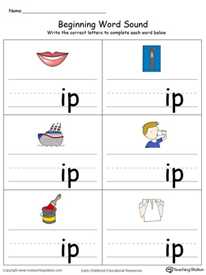 Beginning Word Sound: IP Words in Color