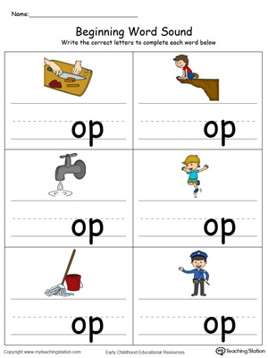 Learn sounds and letters at the beginning of words with this OP Word Family printable worksheet in color.