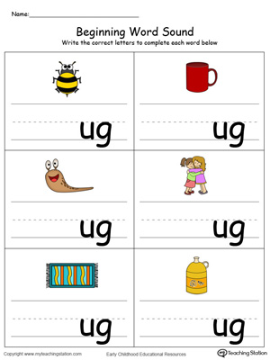 Beginning Word Sound: UG Words in Color