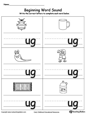 Learn sounds and letters at the beginning of words with this UG Word Family printable worksheet.
