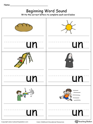 Beginning Word Sound: UN Words in Color