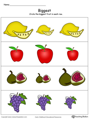 Biggest Worksheet: Identify the Biggest Fruit in Color ...