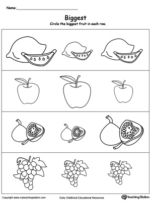 Practice the concept of big, bigger, and biggest. Identify the biggest fruit in this printable math worksheet.