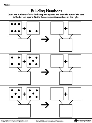Kindergarten Addition Printable Worksheets  Myteachingstationcom Addition Building Numbers By Counting Dots Ii