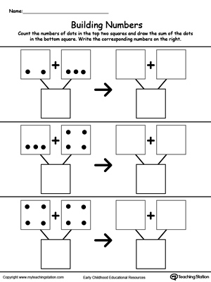 math worksheet : kindergarten addition printable worksheets  myteachingstation  : Printable Math Worksheets For Preschoolers