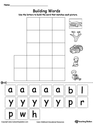 AY Word Family Building Words | MyTeachingStation.com