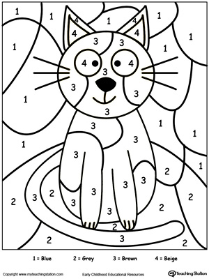 Color by number cat downloadfree worksheet