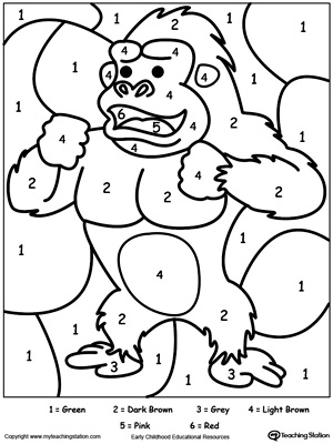 Worksheet. Color By Number Gorilla  MyTeachingStationcom