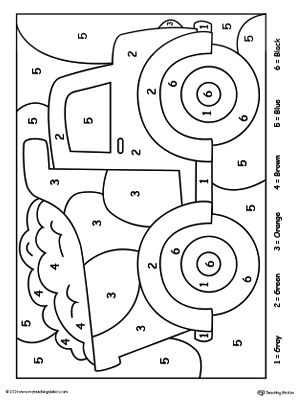 color by number truck - Coloring Worksheets For Kindergarten