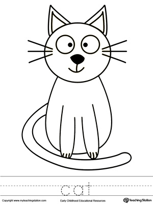 Color the picture and trace the word cat for this preschool printable ...