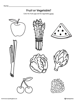 image about Printable Fruit and Vegetables known as Sorting Culmination and Greens within just Grocery Luggage