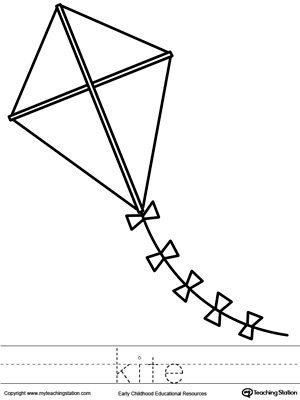 kite coloring page and word tracing - Kite Coloring Page
