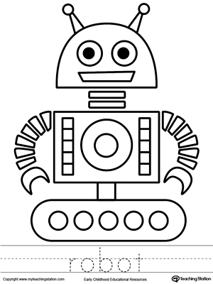 Robot Coloring Page and Word Tracing MyTeachingStationcom