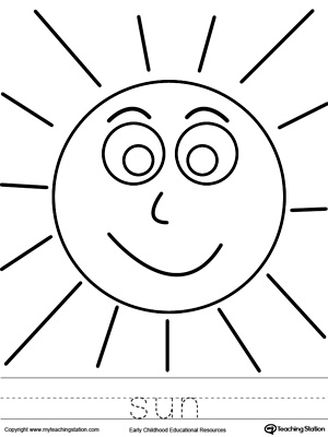 sun coloring page and word tracing