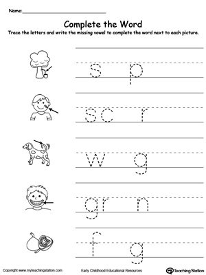 Missing vowel reading and writing worksheets for letters: A, I